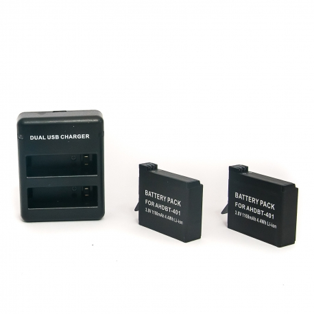 2 batteries + wall charger for GoPro HERO4 set