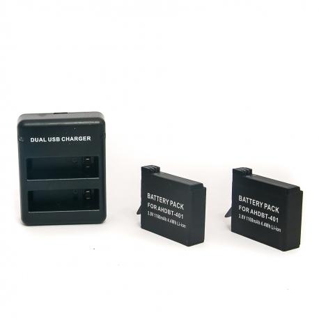 Комплект 2 батареи + зарядное устройство для GoPro HERO4 (набор)