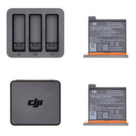 Интеллектуальный зарядный хаб с двумя батарями DJI OSMO Action Charging Kit, комплектация