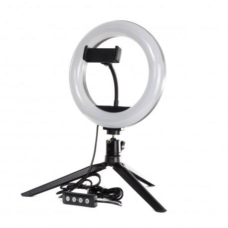 Кольцевая LED лампа PHS 20 см на настольном штативе, главный вид