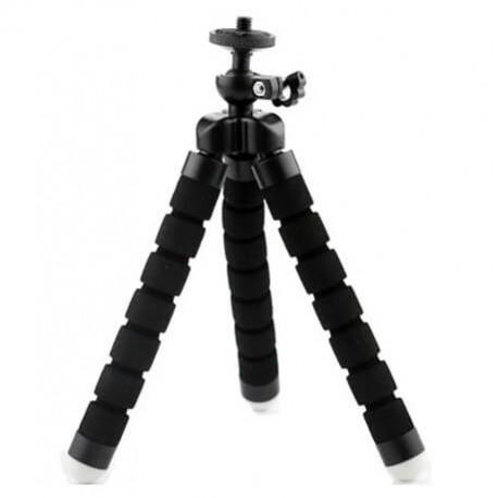 Штатив тренога для GoPro или телефона (размер S), черный в разложенном виде