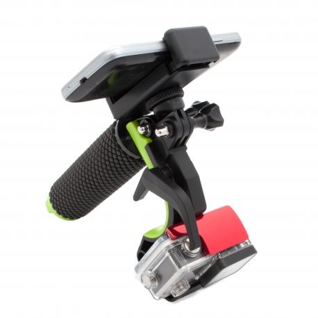 Pistol trigger for GoPro with smartphone holder