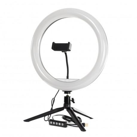 Кольцевая LED лампа PHS 26 см на настольном штативе, главный вид