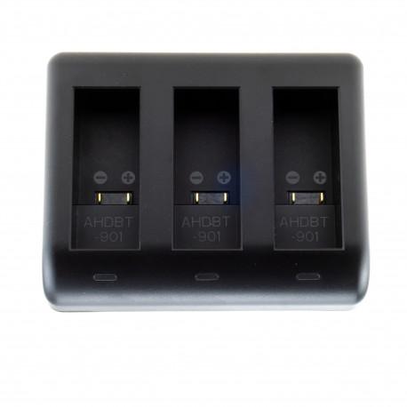 Зарядное устройство PowerPlant BC-GP9C для 3-х батарей GoPro HERO9 Black, вид сверху
