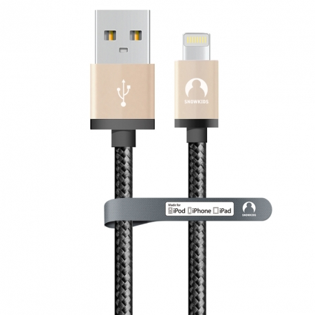 MFi data-cable for iPhone/iPad Snowkids 2m strengthened