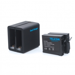 Telesin set - 2 batteries + dual USB charger for GoPro HERO4