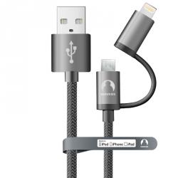 Универсальный MFi кабель Lightning + microUSB Snowkids 1.5 м в оплётке