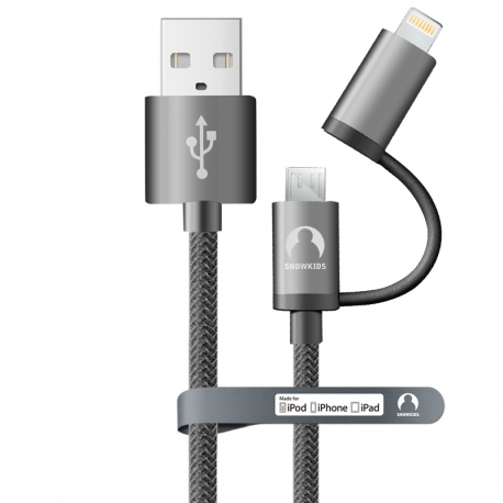 Універсальний MFi кабель Lightning + microUSB Snowkids 1.5м в оболонці