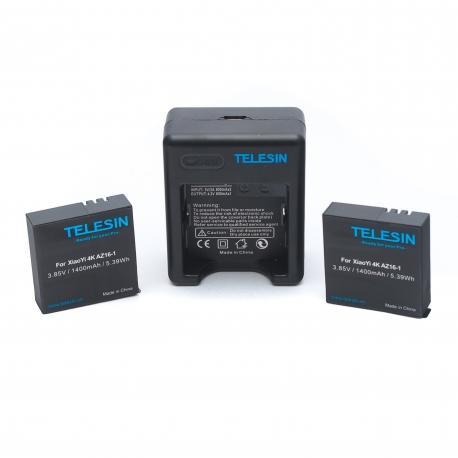 Комплект Telesin USB зарядка + 2 батареї для Xiaomi Yi 4К