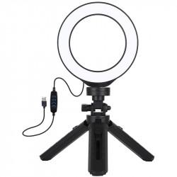 Кольцевая USB LED лампа Puluz 12 см на настольном штативе 12-14,5 см