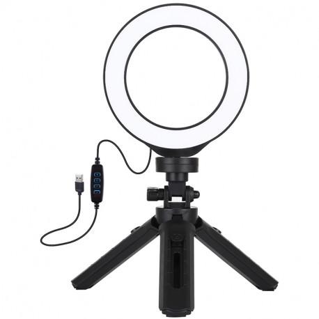 Кольцевая USB LED лампа Puluz 4,7'' (12 см) на настольном штативе 12-14,5 см, главный вид