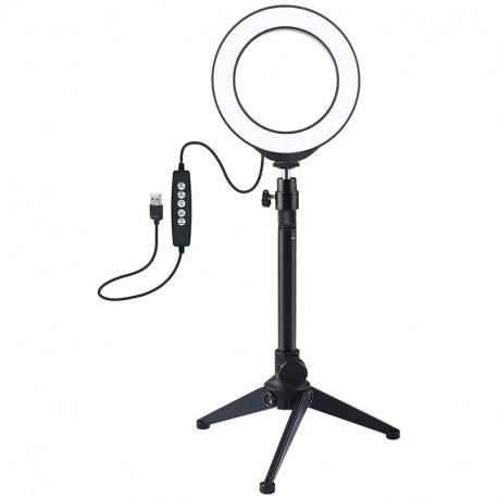 Кольцевая  RGBW USB LED лампа Puluz 4,7'' (12 см) на настольном штативе, главный вид