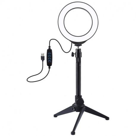 Кольцевая USB LED лампа Puluz 4,7'' (12 см) на настольном штативе, главный вид