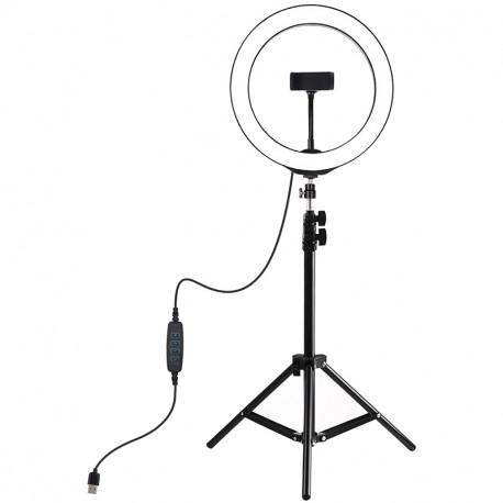Кольцевая USB LED лампа Puluz 10,2'' (26 см) на штативе 110 см, главный вид