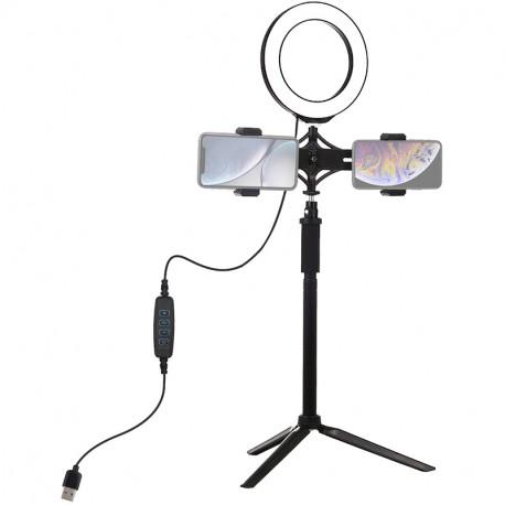 Кольцевая USB LED лампа Puluz 6,2'' (16 см) на штативе 41-56 см, главный вид