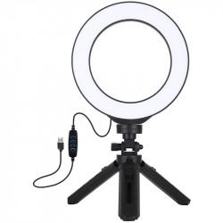 Кольцевая USB LED лампа Puluz 16 см на настольном штативе 12-14,5 см