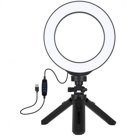 Кольцевая USB LED лампа Puluz 6,2'' (16 см) на настольном штативе 12-14,5 см, главный вид