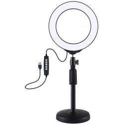 Кольцевая USB RGBW LED лампа Puluz 16 см на настольном креплении 18-28 см