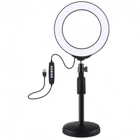 Кольцевая USB RGBW LED лампа Puluz 6,2'' (16 см) на настольном креплении 18-28 см, главный вид