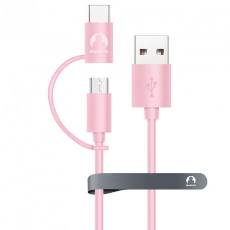 Универсальный кабель microUSB + USB Type-C Snowkids 1.2м (розовый)