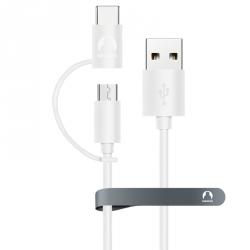 Универсальный кабель microUSB + USB Type-C Snowkids 1.2м (белый)