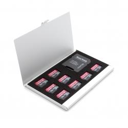 Алюминиевый кейс для 8 карт памяти MicroSD и SD-адаптера