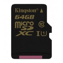 Memory Card Kingston microSDXC 64 Gb UHS-I + adapter U1 (R90, W45MB / s)