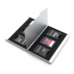 Aluminum case for 6 SD memory cards