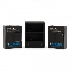 2 TELESIN batteries + dual USB charger for GoPro HERO3 set