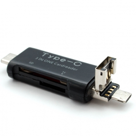 USB 2.0 microUSB OTG Type-C card reader for SD and microSD