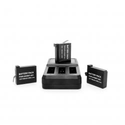 Комплект зарядка на 3 батареї + 3 акумулятора для GoPro HERO4