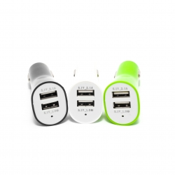 Авто зарядка на 2 USB порта (три кольори)