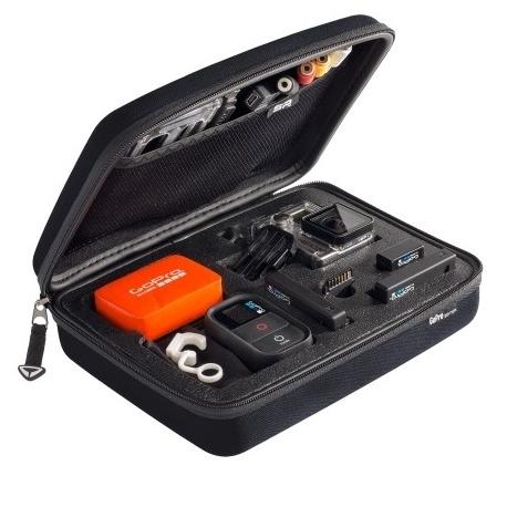Кейс для экшн-камер маленький SP POV GoPro-Edition Small, черный в раскрытом виде с наполнением
