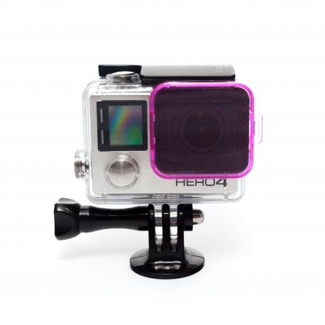 Фиолетовый фильтр для GoPro HERO4 (надетый вид)