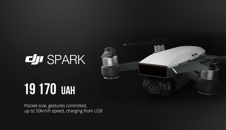 DJI SPARK - pocket-size, gestures controlled, up to 50km/h speed, charging from USB