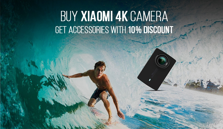 buy Xiaomi 4k camera - get accessories with 10% discount