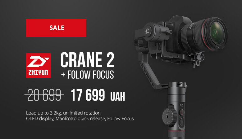 Zhiyun Crane 2 - Load up to 3,2kg, unlimited rotation, OLED display, Manfrotto quick release, Follow Focus